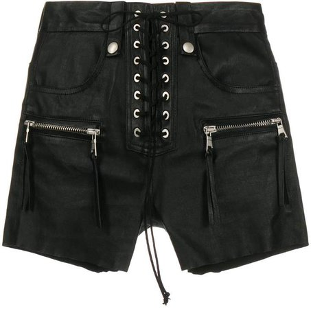 Leather Lace-Up Shorts