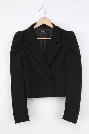 Chic Black Blazer - Puff Sleeve Blazer - Cropped Collared Blazer - Lulus