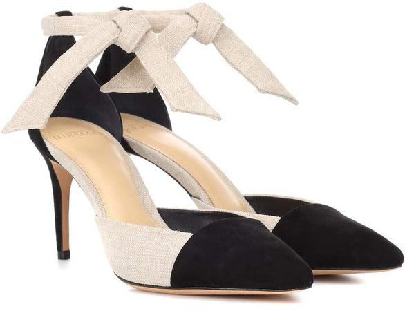 Suede and canvas pumps