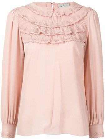 Shop pink Etro ruffle-trim silk blouse with Express Delivery - Farfetch