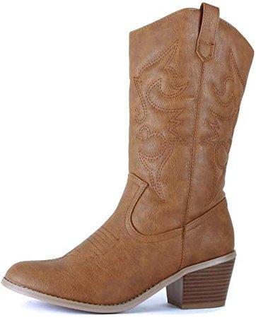 Amazon.com | West Blvd - Womens Miami Cowboy Western Boots (9 B(M) US, Burgundy Pu) | Boots