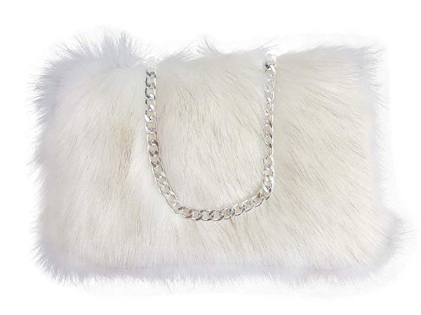 FHQHTH Faux Fur Purse Fuzzy Handbags for Women Evening Handbags Al alloy Shoulder Strap [White With Tips]: Handbags: Amazon.com