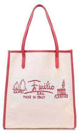 Leather-trimmed Embroidered Canvas Tote