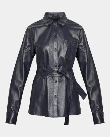 Paper Leather Drop-Shoulder Shirt