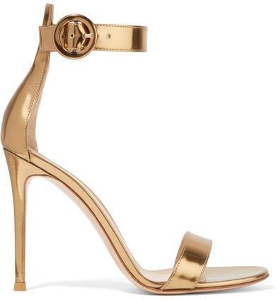 Portofino 105 Metallic Leather Sandals - Gold