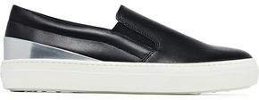 Smooth And Metallic Leather Slip-on Sneakers