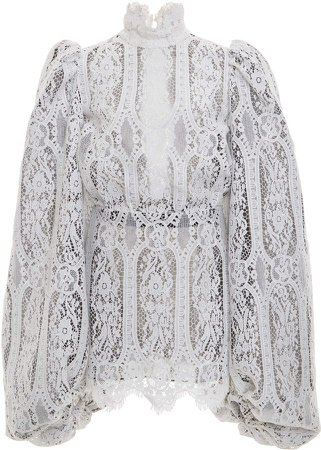 Attico High Neck Balloon Sleeve Lace Mini Dress