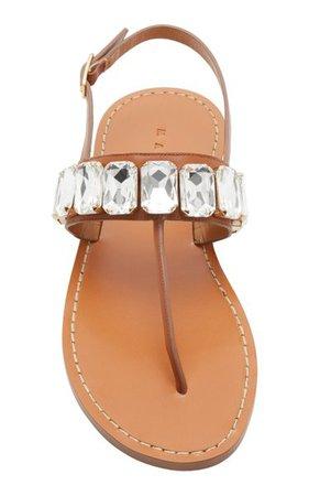 Crystal-Embellished Leather Sandals By Marni | Moda Operandi