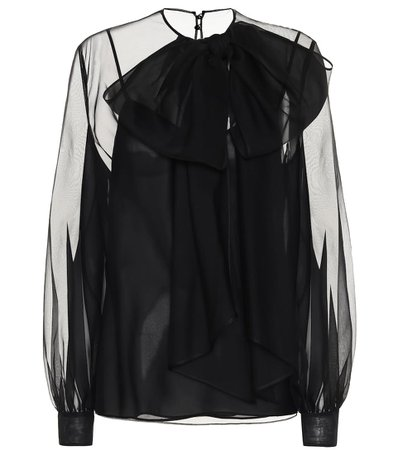 Silk chiffon black blouse