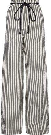Striped Cotton And Ramie-blend Wide-leg Pants