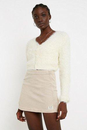 UO Fluffy Button-Through Cream Cardigan