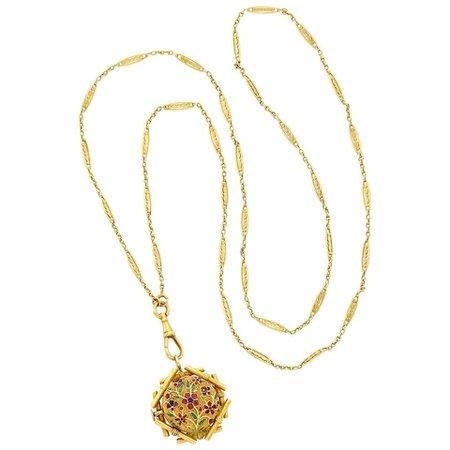 Antique Gold Enamel Watch Pendant Necklace