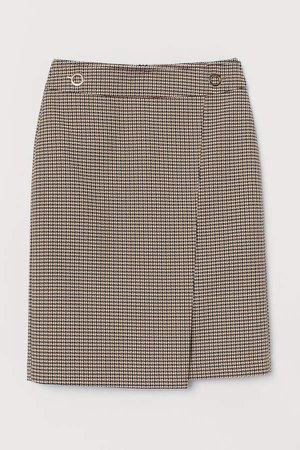 Houndstooth-patterned Skirt - Black