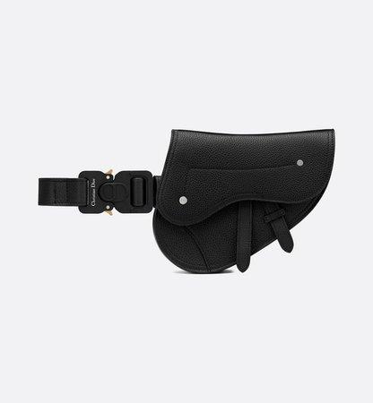 Saddle Belt Bag Black Grained Calfskin - Leather goods - Man | DIOR