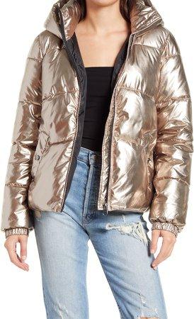 Sala Metallic Puffer Hooded Jacket