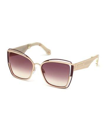 Roberto Cavalli Cutout Cat-Eye Mirrored Sunglasses | Neiman Marcus