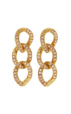 Crystal-Embellished 18k Gold-Plated Chain-Link Earrings By Oscar De La Renta | Moda Operandi