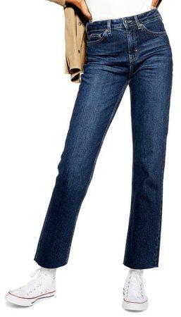 High Waist Raw Hem Straight Leg Jeans