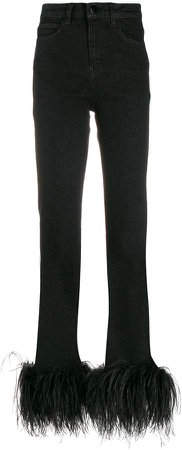 Ostrich feather embellished jeans
