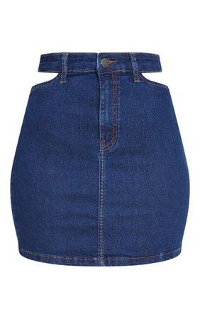 Dark Blue Wash Cut Out Waist Skirt | Denim | PrettyLittleThing