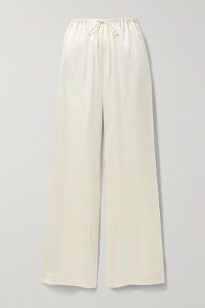 Silk-satin Wide-leg Pants - Ivory