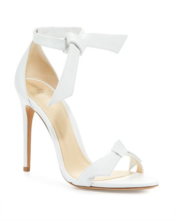 Alexandre Birman Clarita Knotted Leather Sandals, White | Neiman Marcus