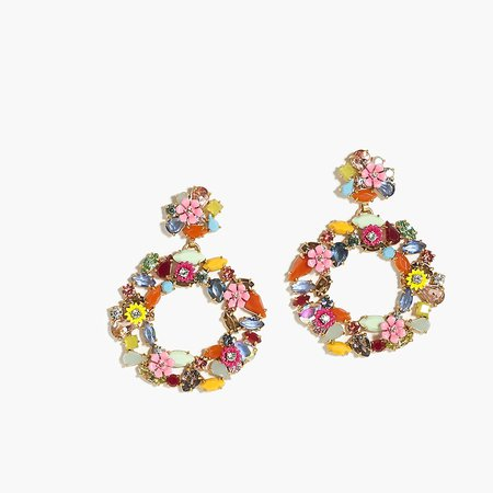 J.Crew: Colorful Floral Hoop Earrings For Women
