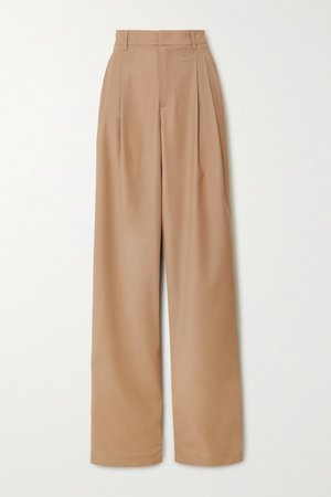 Camel Pleated wool-blend wide-leg pants | Paul & Joe | NET-A-PORTER
