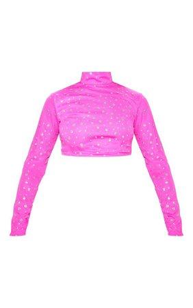 Hot Pink High Neck Glitter Mesh Crop Top   PrettyLittleThing USA