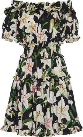 DOLCE & GABBANA Ruffled lily-print cotton-poplin bardot dress - Google Search