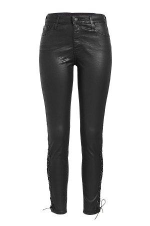 Farrah Ankle Side Lace-Up Faux Leather Pants Gr. 27