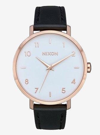 Nixon Arrow Leather Rose Gold White Black Watch