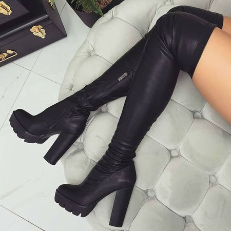 Leather Black Thigh High Boots