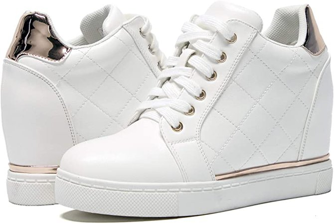 Amazon.com | Athlefit Women's Hidden Wedge Sneakers Shoes White Lace Up Fashion Wedge Sneakers | Fashion Sneakers