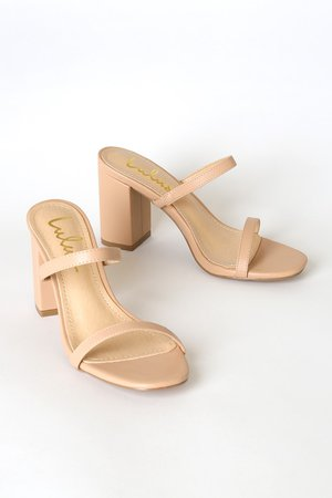 Trendy Beige Sandals - High Heel Sandals - Strappy Block Heels - Lulus