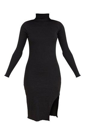 Black Rib High Neck Lettuce Split Detail Midi Dress   PrettyLittleThing CA