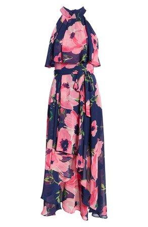 Eliza J Floral Halter Neck Popover Chiffon Midi Dress | Nordstrom
