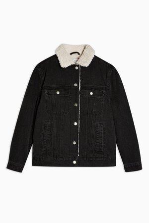 Oversized Black Denim Borg Lined Jacket | Topshop