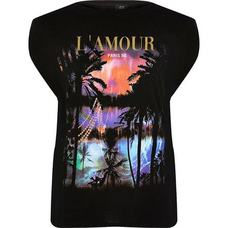 Black tropical print T-shirt - T-Shirts - Tops - women