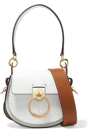Chloé | Tess small croc-effect leather and suede shoulder bag | NET-A-PORTER.COM