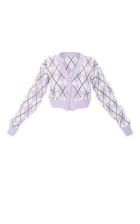 Lilac Check Cropped Knitted Cardigan | PrettyLittleThing USA