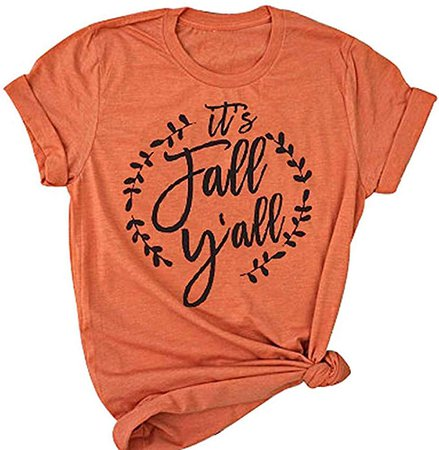 Amazon.com: UNIQUEONE It's Fall Y'all T-Shirt Women Halloween Short Sleeve Funny Southern Fall Tops Tee Size XL (Orange): Clothing