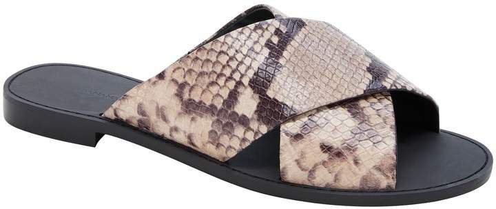 Leather Crossover Slide Sandal