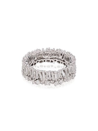 ShopSuzanne Kalan 18kt white gold baguette diamond ring with Express Delivery - Farfetch