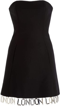 David Koma London-Trim Wool Mini Dress