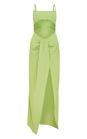 Green Textured Strappy Cut Out Drape Skirt Midaxi Dress   PrettyLittleThing USA