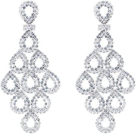 """Amazon.com: CHRAN Silver Crystal Teardrop Dangle Earrings Rhinestone Chandelier Bridal Jewelry Long Size 2.87"""": Jewelry"""
