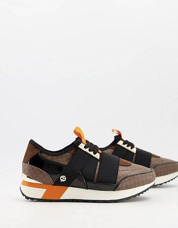 River Island monogram bandage runner sneakers in brown   ASOS