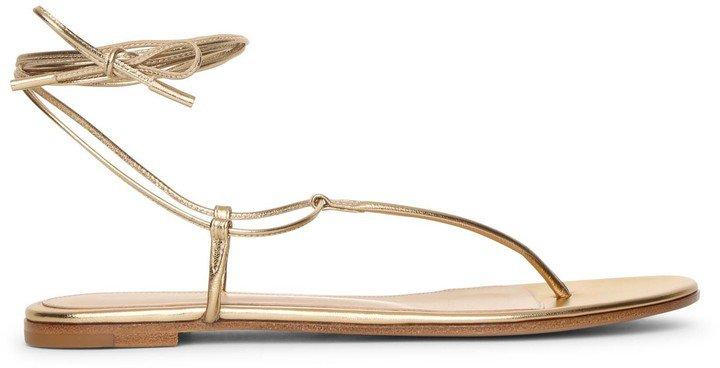 Metallic gold leather flat sandals
