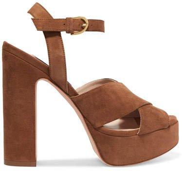 Joni Suede Platform Sandals - Brown